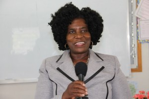 brainchild of the Introduction to Computer Class for Seniors on Nevis Adina Taylor at the launch of the Introduction to Computer Classes for Seniors at the Nevis International School's computer lab on January 29, 2015