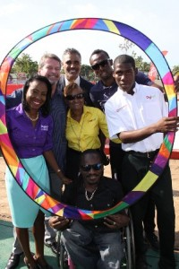 Captions: Digicel Rick Fox 1: Showing their support for Special Olympics by joining in the ring of inclusion and acceptance are sporting legends Rick Fox and Usain Bolt, Paralympian gold medallist, Alphanso Cunningham, Special Olympian, Dillon Robinson along with Digicel Jamaica Foundation Special Needs Programme Manager, Judine Hunter (left), Executive Director of the Special Olympics Jamaica (front centre), Lorna Bell (centre) and UNICEF representative to Jamaica, Mark Connolly (second left)
