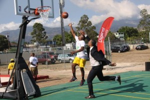 Special Olympics Jamaica athlete, Corey Bennett, showcased his moves for three-time NBA Champion, Rick Fox, during the unveiling of the Digicel Jamaica Foundation-funded Special Olympics Court