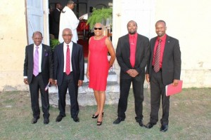 (left to right) - Hon. Dr. Denzil L. Douglas, Dr. Earl Asim Martin, Hon. Marcella Liburd, Dr. Norgen Wilson and Hon. Konris Maynard