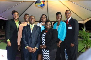 Back row - Klieon John( Caricom Youth Ambassador),Dwane Hendrickson (President Nevis Youth Council), Zahnela Claxton (Nevis Youth Coordinator) Sonia Boddie ( Caricom Youth Ambassador) Geoffrey Hanley (Director of Youth St.Kitts) Front Row: Hon. Shawn Richards (Deputy Prime Minister and Minister of Youth) Hon. Hazel Brandy-Williams(Junior Minister for Youth on Nevis)