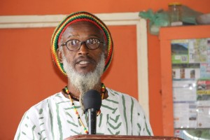 Ras I-Roy, participant of the pottery making workshop delivering the vote of thanks at the opening ceremony of the Newcastle Pottery Making workshop on June 8, 2015 at the Newcastle Pottery