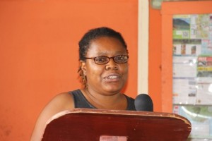 Global Environment Facility (GEF) Representative Ilis Watts delivering remarks at the opening ceremony of the Newcastle Pottery Making workshop on June 8, 2015 at the Newcastle Pottery