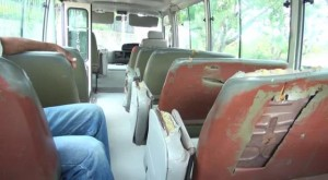 Back seat covering cut by students who use the Department of Education's free School Bus Programme to and from school