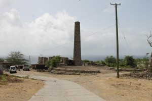 An open area where the Ministry of Tourism plans to erect a monument honouring slaves who worked at the New River Estate with the sugar mill in the background