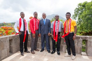 Premier of Nevis Hon. Vance Amory (middle) with Mr. Kool contestants (l-r) Arundell Dore, Romaine Mills, Delville Mills and Jevon Romney on the terrace on the top floor of the Nevis Island Administration on July 13, 2015. Contestant Wricherky Gumbs is absent