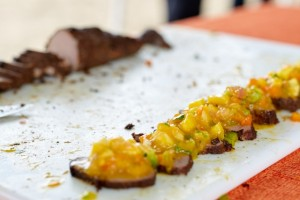 Chef Henville's mango inspired dish at The Nevisian Mango Feast hosted by the Nevis Tourism Authority at Oualie Beach on July 12, 2015. Photo by Refined Digital Media