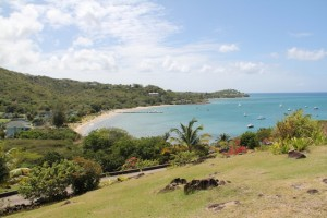 The view of Oualie Beach from Hurricane Cove on the Caribbean Sea coast not affected by Sargassum seaweed