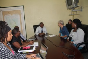 L-R) Education Planner Dr. Neva Pemberton, Principal Education Officer Palsy Wilkin, Permanent Secretary in the Premier's Ministry Wakely Daniel, Premier of Nevis and Minister of Education Hon. Vance Amory, California based two-time Olympian Marilyn King at a meeting to discuss training for teachers through her Olympian Thinking programme at the Nevis Island Administration conference room at Bath Hotel on August 25, 2015