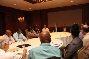 Representatives from the business sector on Nevis with Premier of Nevis and Minister of Finance Hon. Vance Amory at a meeting with International Monetary Fund officials led by Deputy Managing Director of the International Monetary Fund Min Zhu at the Four Seasons Resort on September 02, 2015