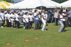 """Seniors getting ready for the """"dance past"""" at the first ever Seniors Fun and Action Games hosted by the Ministry of Social Development, Senior's Division at the Elquemedo Willet Park on October 15, 2015"""