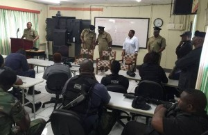 Commissioner Queeley and High Command briefing Officers before community walk through as part of Operation Vice Grip