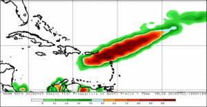 GFS probability forecast of total rainfall for April 15-22 exceeding 75 mm (3 in)